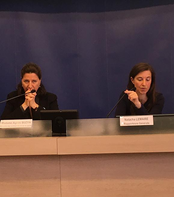 Agnès Buzyn Ministre des Solidarités et de la santé et Natacha Lemaire rapporteure du conseil